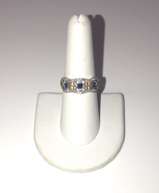 14k White and Yellow Gold Sapphire Diamond Ring. Original price: $1,617. Now on sale for $1,289!