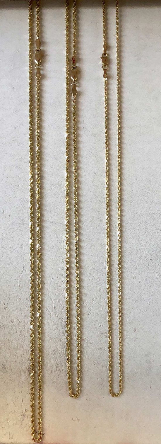 Caption Yellow Gold Rope Chains in 20 inches and 22 inches