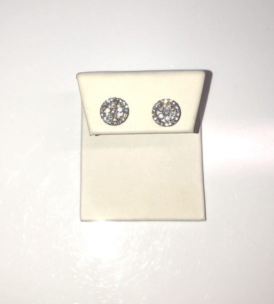 14k White Gold Diamond Round Earrings